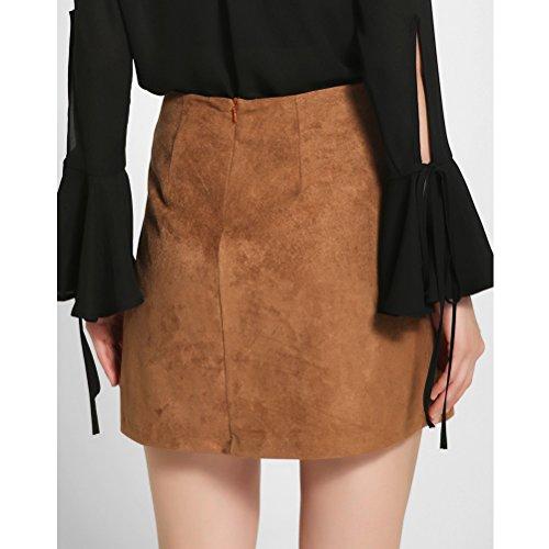 Zhhlinyuan Fashion Mujeres High Waist Velvet Bodycon Skirt Straps Short Stretch Skirt Brown