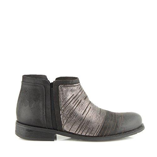Felmini - Zapatos para Mujer - Enamorarse com Bomber 1096 - Botines con cremallera - Cuero Genuino - Negro Negro