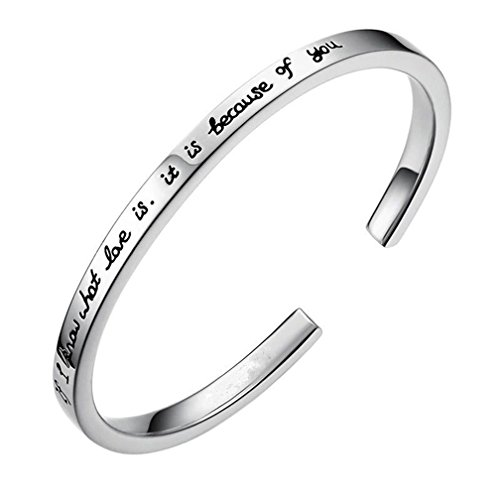 MissNity Sterling Silver Cuff Bracelet Engraved Message Inspirational