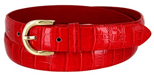 Ladies Designer Belts (Women's Skinny Alligator Embossed Leather Casual Dress Belt with Buckle 7035 (Red,)