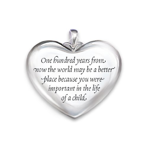 Hearts Of Learning Heart-shaped Diamond Pendant Necklace Gift For Teachers by The Bradford Exchange