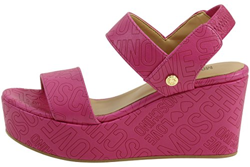 Love Moschino Women's Embossed Logo Fuchsia Wedge Heels Sandals Shoes Sz: 8 by Love Moschino (Image #1)