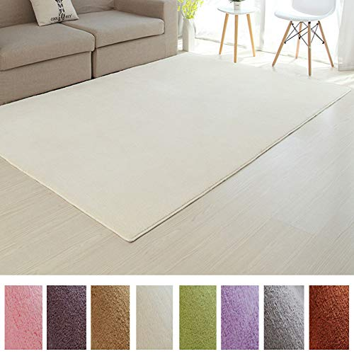 (Affordable Shaggy Rug Cozy & Soft Kids Thicken Area Rug Solid Color Beige, for Children's Play Area, Bedroom or Nursery Carpet 5 Feet x 7 Feet (5' x 7'))