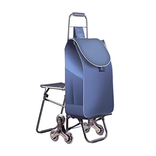 Akang Grocery Shopping Cart Foldable for Stairs, Trolley Dolly, Shopping Cart Multifunction Grocery Foldable Picnic Beach, with Seat - Easily Up The Stairs, 5 Colors (Color : Cyan)