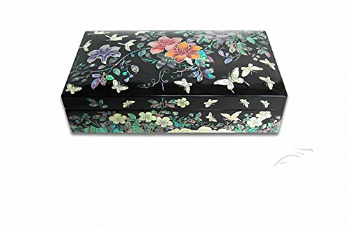 Parelmoer Bloem & Vlinder Sieraden Weer Nacre Artisan Handgemaakte Sieraden Case Trinket Box by JMcore High Quality Jewelry Box