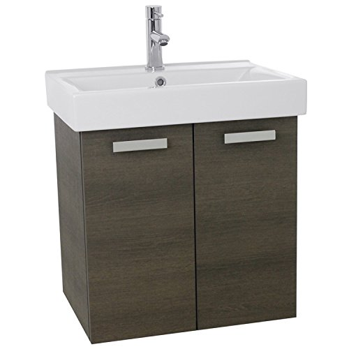 ACF C143 Cubical Wall Mount Bathroom Vanity with Fitted Ceramic Sink, 24