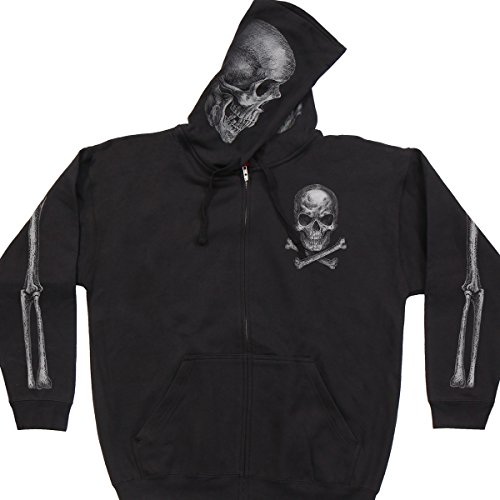 Hot Leathers Skull and Crossbones Jolly Roger Mens Black Hoodie Sweatshirt (XL) - Crossbones Hoodie