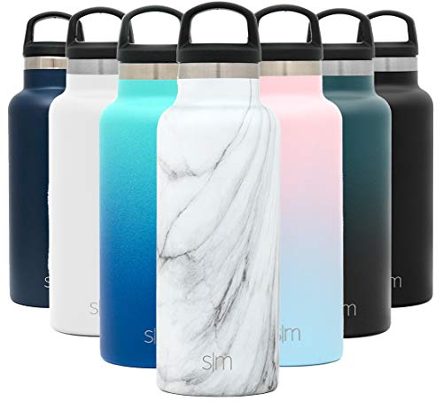Simple Modern 17oz Ascent Water Bottle - Stainless Steel Flask w/Handle Lid - Black Hydro Double Wall Tumbler Vacuum Insulated White Small Reusable Metal Leakproof Pattern: Carrara Marble
