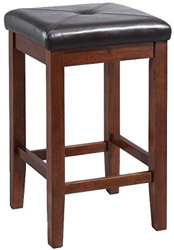 Crosley Furniture Upholstered Square Seat 24-inch Bar Stool - Vintage Mahogany (Set of 2) - Mahogany Bar Stools