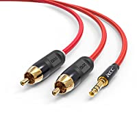 Nylon Braided RCA Headphone Adapter Cable, iXCC 15 Feet Dual Shielded Gold-Plated 3.5mm Male to 2RCA Male Stereo Audio Y Cable