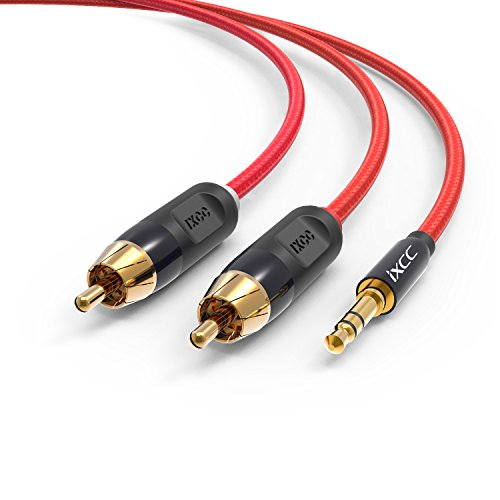 - Nylon Braided RCA Headphone Adapter Cable, iXCC 6 Feet Dual Shielded Gold-Plated 3.5mm Male to 2RCA Male Stereo Audio Y Cable