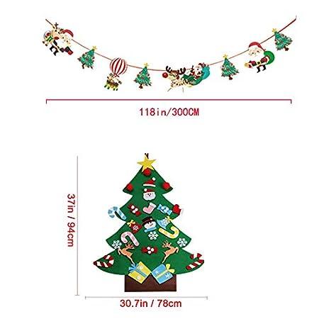 Wall Hanging Xmas Gifts Decorations PINCHUANG Felt Christmas Tree Kids Christmas Hanging Banner E