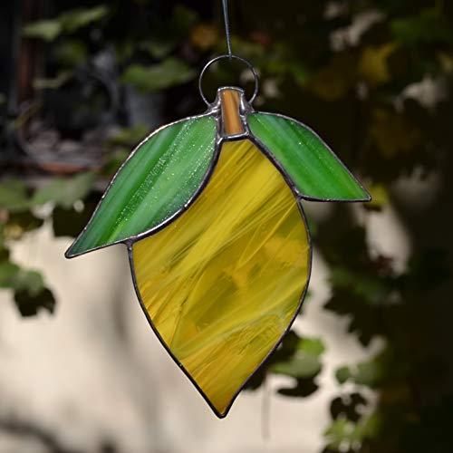 - ZangerGlass Yellow Lemon Stained Glass Fruit Suncatcher for Window Hanging or Citrus Wall Decor