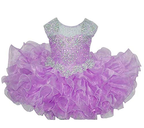 M_RAC Baby Girl's Crystal Jewel Pageant Cupcake Dress Birthday Party Mini Gowns 2 US Style-2Purple (Purple Dress With Jewels)