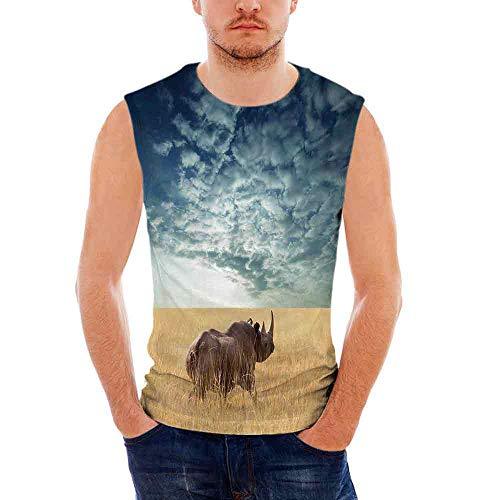 Mens Sleeveless Safari Decor T- Shirt,Rhino Rhinoceros Sun Shining Through Cloud