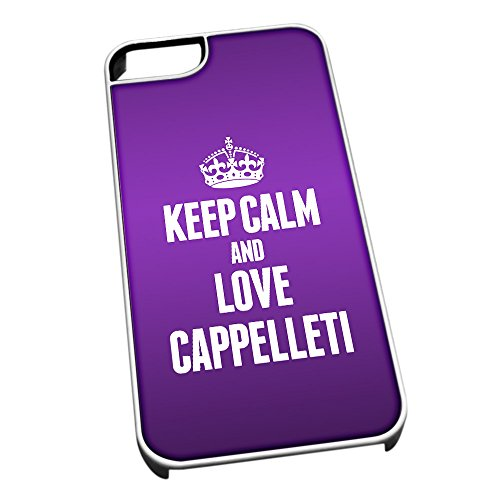 Bianco cover per iPhone 5/5S 0904 viola Keep Calm and Love Cappelleti