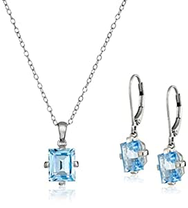 Sterling Silver and Blue Topaz Jewelry Set