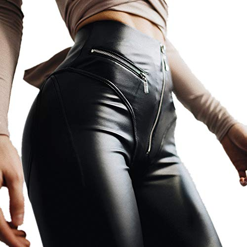 Zipper Front Leather Pants - Lucky2Be Women's Sexy PU Leather Leggings Front Zipper High Waist Push Up Faux Leather Pants Black