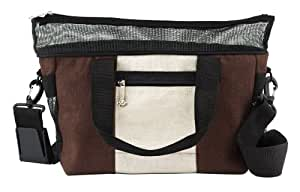 Doggles Dog Carrier Hemp Messenger Bag, Small, Off White / Brown