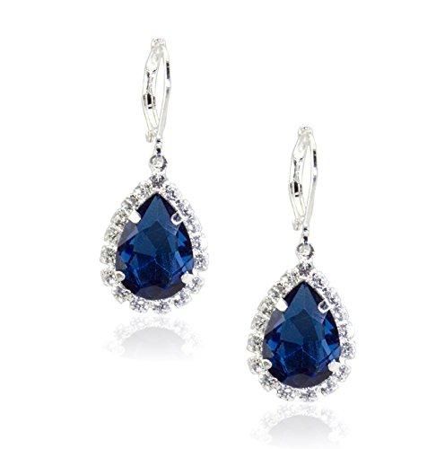 Zoe & Ella Montana Blue and Crystal Rhinestone Silver Plated Pear Drop Earrings
