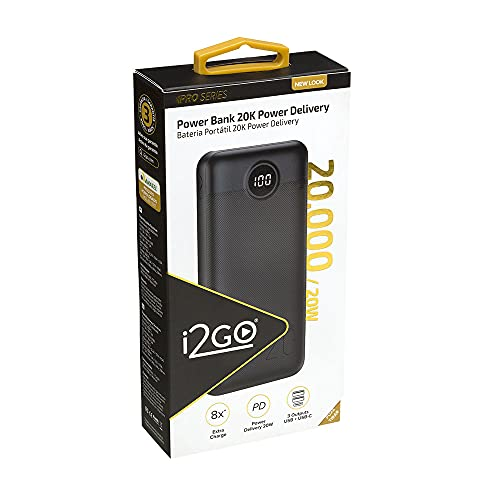 Carregador Portátil (Power Bank) Ultra Rápido 20000mAh Power Delivery 20W 2 Saídas USB + 1 Saída/Entrada USB-C Preto…