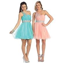 May Queen MQ1075 One Shoulder Short Bridemaids Dress