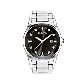 Bulova Men's Stainless Steel Round Black Dial Watch
