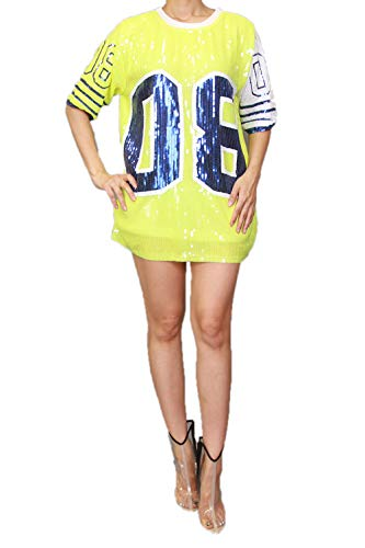 STAY CHIC Sequins Short Sleeve 08 Print Casual Mini Dress (One Size, 08neonyellow)