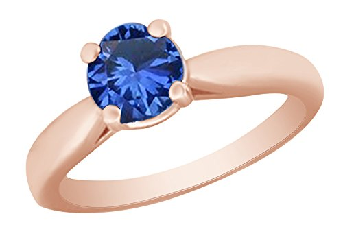 Rose Sapphire Ring (AFFY Round Cut Simulated Blue Sapphire Solitaire Ring in 14k Rose Gold Over Sterling Silver (1 Ct) Ring Size - 5)