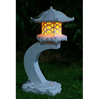TIAAN 24u201dheight Japanese Style Lantern Solar Garden Lamp Solar Pagoda Light