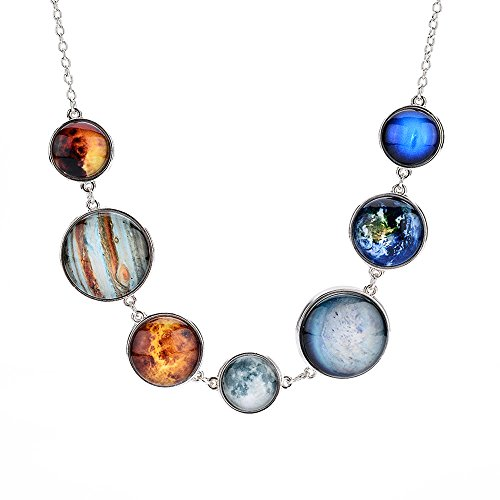 7 Planet Necklace Sun Moon Galaxy Space Necklace Dangle Planets Solar System Charm Necklace for Women and Girls (Silver Necklace)
