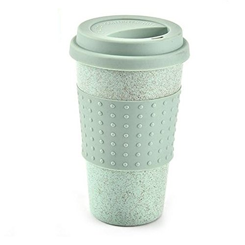 Wheat Water Cup With Straw Cola Coffee Cups Wheat Straw Plastic Healthy Drink Bottle Multi-Functional With Silica Gel Lid(Green) -  YOTHG, 15317447109465
