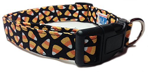 Adjustable Dog Collar in Black with Halloween Candycorn (U.S.A. Made) ()