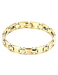 NELSON KENT Men's Tungsten Joint Chain Bracelet Gold with Charm Clasp