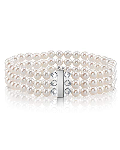 THE PEARL SOURCE 14K Gold 7-7.5mm AAA Quality White Triple Japanese Akoya Saltwater Cultured Pearl Bracelet for Women