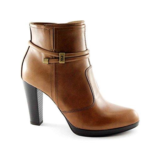 NEGRO JARDINES 15955 botas de cuero botas de cuero de las mujeres del talón zip marrón