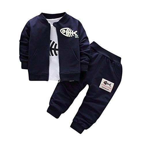 VEKDONE Baby Boys' Fleece Hoody Pant Set, Coat+T Shirt +Pants ()