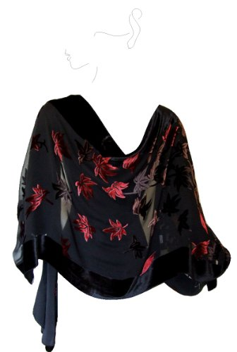 Based Burn out Velvet Shawl Red black product image