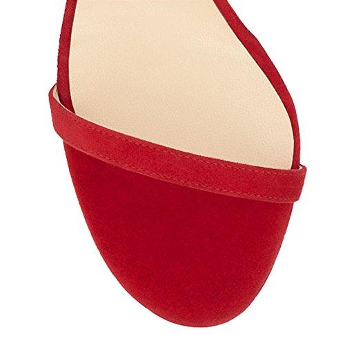 EKS - Sandalias de vestir para mujer Rojo