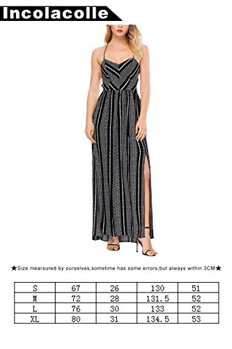 Women's Maxi Spaghetti Cover Incolacolle Swimsuit Bikini Dress Black Bathing Stripe 71wRxTqd