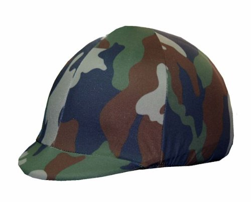 Equestrian Riding Helmet Cover - Green Camouflage
