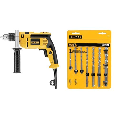 DEWALT DWE5010 1/2-Inch Single Speed Hammer Drill with DEWALT DW5207 7-Piece Premium Percussion Masonry Drill Bit Set ()