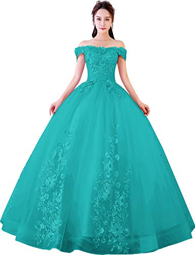 Quinceanera Gown New (Okaybrial Women's Sweet 16 Quinceanera Dresses Turquoise Off Shoulder Lace Long Prom Ball Gowns Size 2)