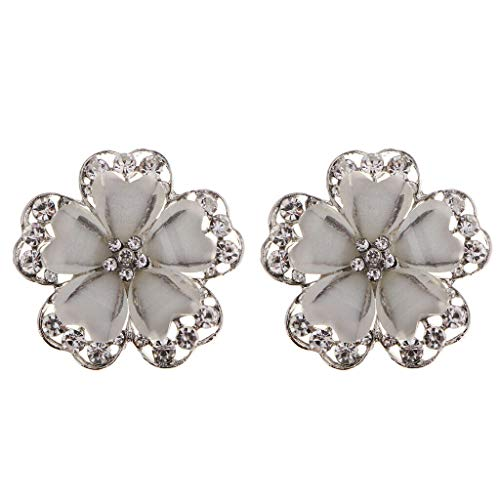 2X Flower Design Crystal Rhinestone Shank Button Decor Button Sewing Craft