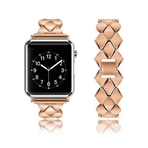 Rockvee Compatible Apple Watch Band 38mm 42mm, Metal Bracelet Business Replacement Wristband Bands iWatch Nike+, Series 3 2 1, Sport, Edition, Women Men, Silver, Rose Gold, Black, Gold
