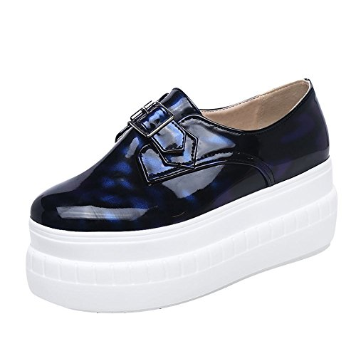 Mee Shoes Damen runde Geschlossen Durchgängiges Plateau Pumps Blau