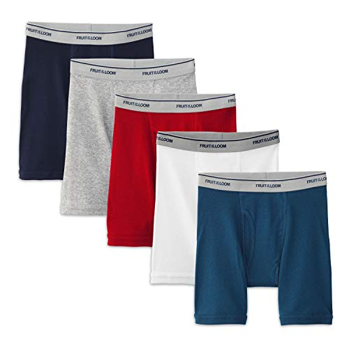 Fruit of the Loom Boys' Big Boxer Brief, Exposed and Covered Waistband, Solids - Assorted (Pack of 5), Large