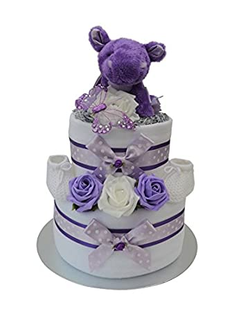 Dragon Themed 2 Tier Nappy Cake New Baby Girl Gift Hamper Fast