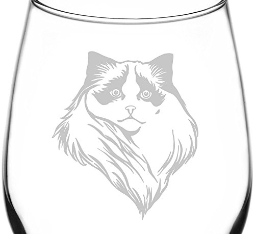 (Birman Alternate) Realistic Cat Breed Face Inspired - Laser Engraved 12.75oz Libbey All-Purpose Wine Taster Glass