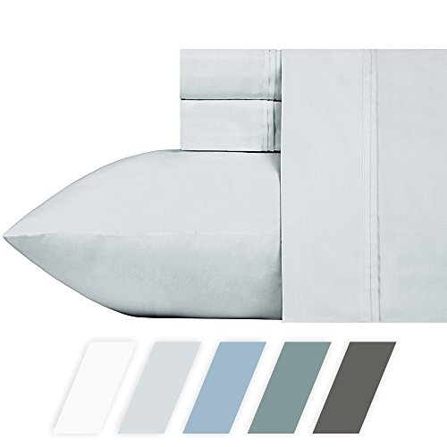 #1 Bed Sheet Set - HIGHEST QUALITY 700-Thread-Count Cotton Blend Sheet Set Silver Queen, 4-Piece Bedding Sheets For Bed on Amazon, Silky Sateen Weave, Poly Cotton, Fits Mattress Upto 18'' Deep Pocket (Long Polyester 18')